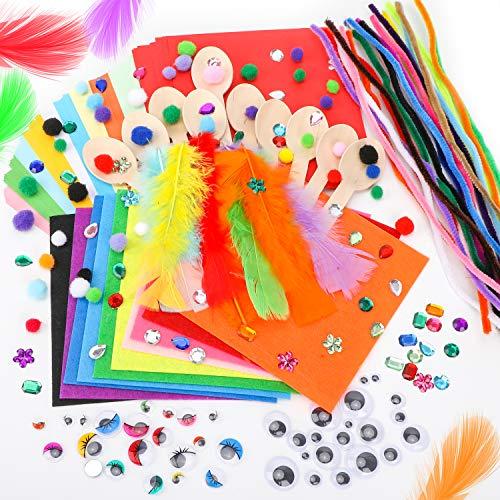 Qpout Set Artesanal para proyectos Escolares para niños, limpiapipas, Tallos de Chenilla, cucharas de Madera, Plumas, Ojos autoadhesivos, Pompones, Diamante acrílico, Tela no Tejida, Origami
