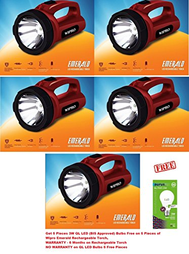 Wipro EMERALD LED Rechargeable Torch [CL0005] Pack of 5 ,Get Free 5 Pieces QL 3 Watt LED (BIS Approved LED Bulbs) Bulbs