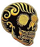 PP-Aufnäher Cranium Gold Mexikanische Kunst Sugar Skull