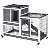 PawHut Indoor Wooden Rabbit Hutch Guinea Pigs House Bunny Small Animal Cage W/Wheels Enclosed Run 110 x 50 x 86 cm