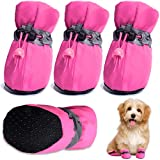 """HOOLAVA Dog Shoes, Dog Boots Paw Protector with Reflective Straps, Non Slip Dog Booties for Small Medium Large Dogs and Puppies 4PCS(Size 4: 1.96""""x1.57"""")"""