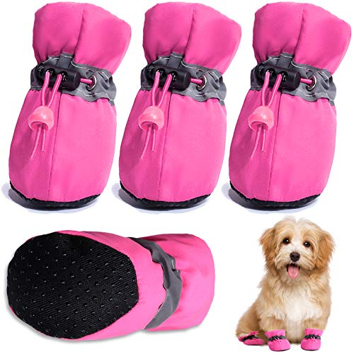 """HOOLAVA Dog Shoes, Dog Boots Paw Protector with Reflective Straps, Non Slip Dog Booties for Small Medium Large Dogs and Puppies 4PCs/8PCs (Size 4: 1.57""""(Width), Pink)"""