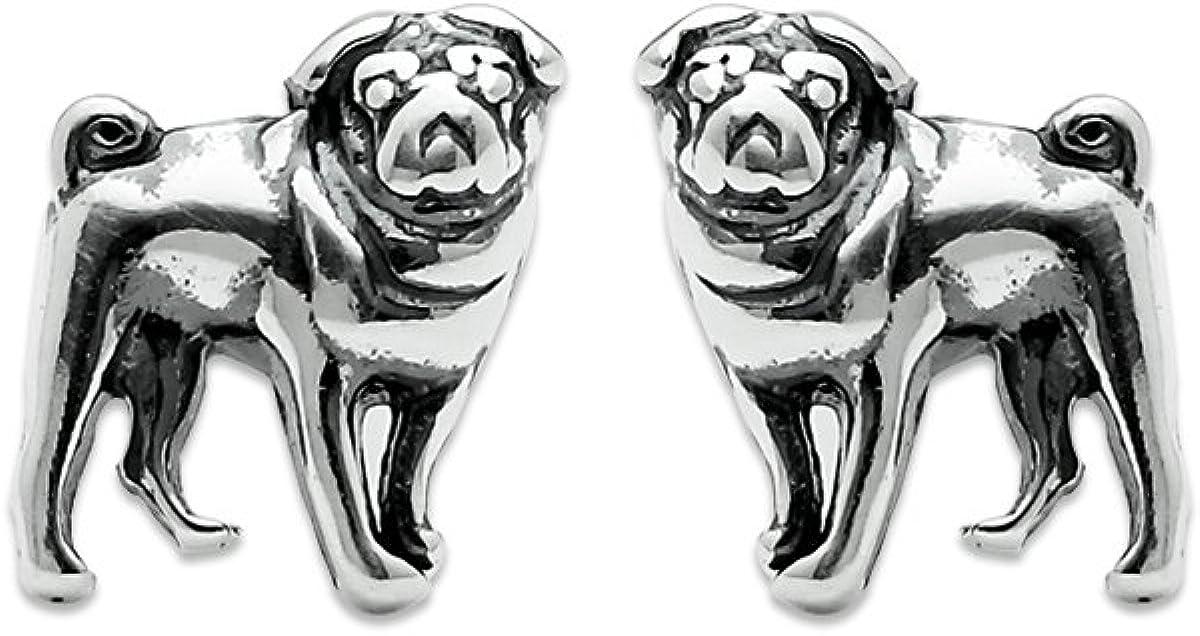 14. Sterling Silver Pug Dog Stud Earrings