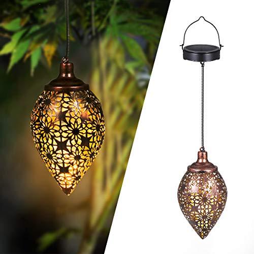 Solarlaterne für außen, Görvitor LED Solar Laterne Hängend, Deko Metall Solarlampe Garten Laterne für Aussen Garten Patio Balkon