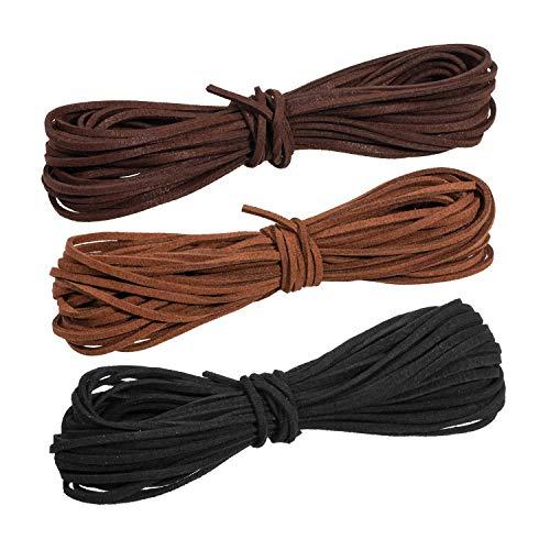 Whaline 3 Piezas 3 mm de Cordón de Ante Falso 3 Colores Cuerda de Cuero para Bricolaje Pulsera...