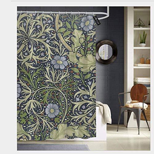 AdaCrazy William Morris Motivo alghe Tenda Doccia Stampa 3D Tessuto Impermeabile Rivestito in Poliestere Bagno con 12 Ganci 71 Pollici