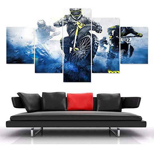 rkmaster Canvas Muurschildering Modulaire fotolijst 5 planken motorfiets Racing Modern schilderen Cuadros Art Deco muurschildering woonkamer decoratie vlies