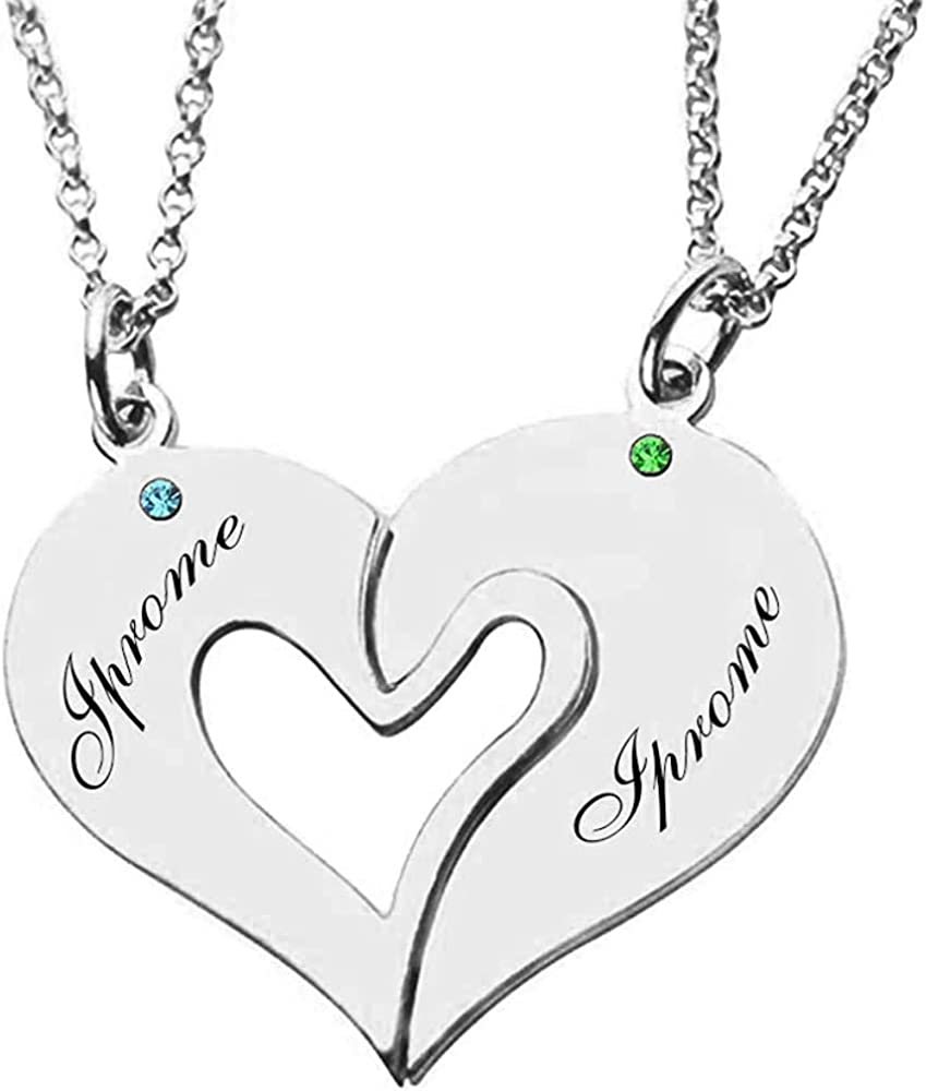 Iprome Cheap mail order shopping Max 85% OFF Custom Mens Womens Couple Half He Necklace 2 Personalized