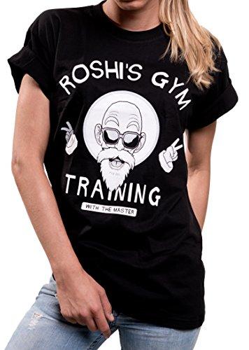 MAKAYA Roshi's Dragon Gym Oversize Top Manga Corta - Goku Master - Camiseta Frikis para Mujer Talla Grande Negro XXL