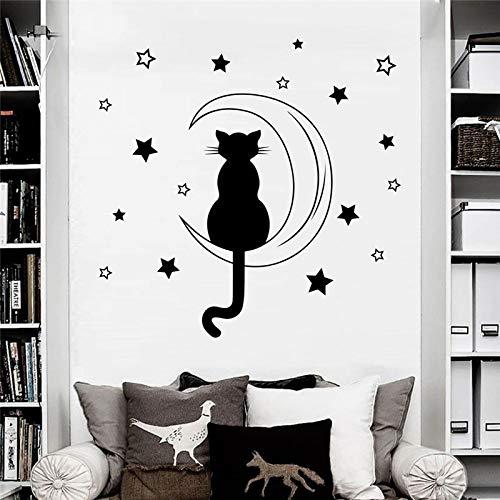 zqyjhkou Katze Sating Auf Dem Mond Romantische Wandtattoos Home Nursery Schlafzimmer Nette Liebevolle Decor Süße Wandaufkleber Wandbild99x99cm