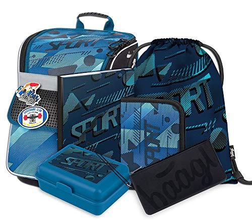 Schulranzen Jungen Set 6 Teilig - Zippy Schultasche ab 1. Klasse - Grundschule Ranzen mit Brustgurt - Ergonomischer Schulrucksack (Sport)