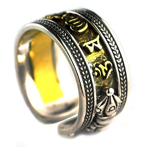 TYV Mantra open ring met zes woorden voor heren, vintage Thaise zilveren ring, verstelbaar formaat, zonder vervaging