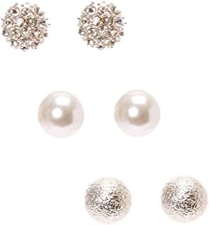 321eb234e Claire's Girl's Classic Silver Tone Ball Stud Earrings Silver/White