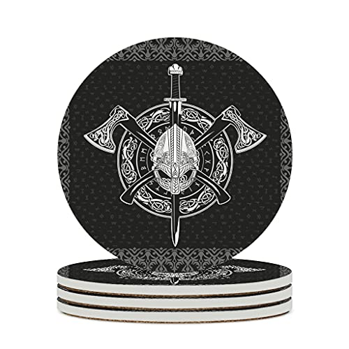 Perstonnoli Wikinger Runen Odin Hammer Untersetzer Rund Keramik Glasuntersetzer mit Korkboden 4 Stück Dekorative Untersetzer für Getränke Tassen Bar Glas 10cm White 6pcs