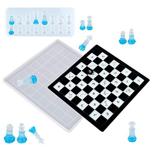 Schachbrett-Silikonharz-Form mit Schachfiguren, Gießharz, Kristall, Epoxidharz, Form für Heimwerker, Heimdekoration, Tischdekoration