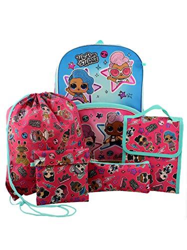 "L.O.L. Surprise! Dolls Girls 16"" Backpack 5 piece School Set (One Size, Blue/Pink)"