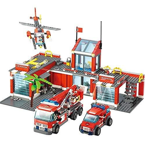 HYLL Bausteine 774 STÜCKE City Fire Station Bausteine Sets Feuerwehrmann Kämpfer Truck Auto Creator Ziegel Pädagogische Spielzeug für Kinder
