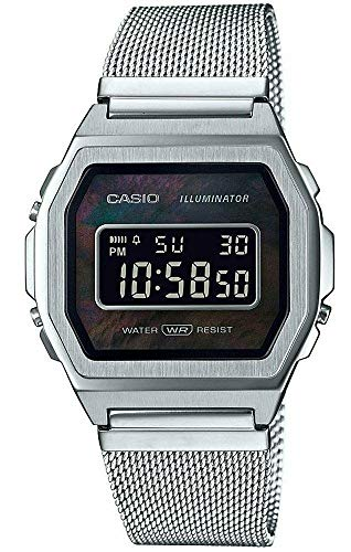 Casio A1000M-1BVT - Orologio digitale con sveglia, stile vintage, in acciaio inox, con cinturino a rete