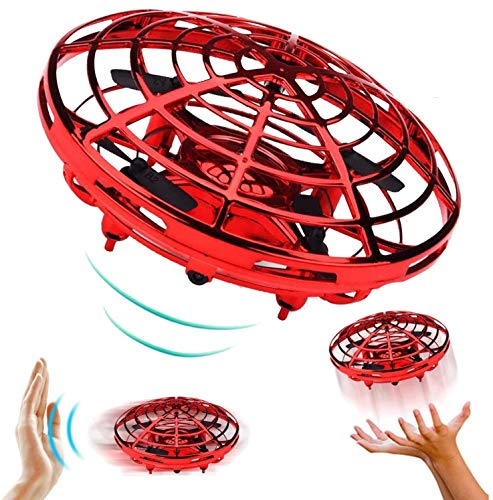 Mini Drones for Kids, Hand-Controlled UFO Drone for Kids Infrared Sensor 2 Speed 360°Rotating Quadcopter with LED Light Flying Toy for Boys and Girls (Red)