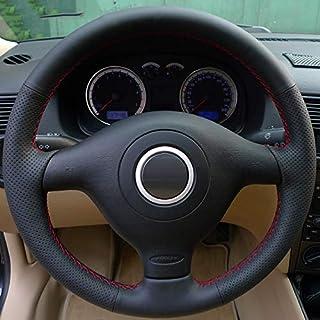 HCDSWSN Cubierta del Volante del Coche Cosido a Mano de Cuero Genuino Negro para Volkswagen VW