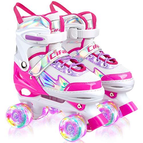 Roller Skates for Girls and Kids, 4 Sizes Adjustable Roller Skates with Light up Wheels and Shining Upper Design