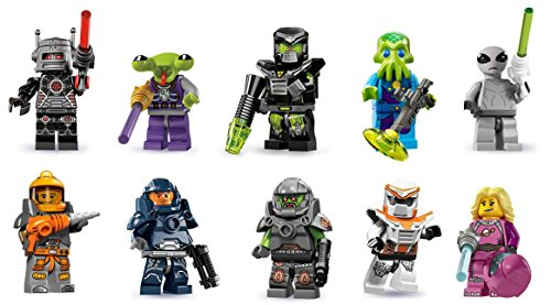 LEGO Space Custom Bundle Intergalactic Girl, Alien Avenger, Battle Mech, Classic Alien, Space Alien, Galaxy Patrol, Evil Mech, Space Miner, Evil Robot, Alien Minifigures