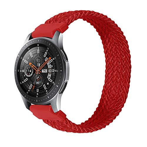 ZLRFCOK Correa trenzada de nailon de 20 mm, 22 mm, para Galaxy Watch 3, 41 mm, 45 mm, para Gear S3 Classic para Amazfit Gts/GTR (color: rojo, tamaño: 22 mm-S tamaño 125 mm)