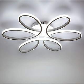85W LED Lámpara de techo de Forma de flor creativa Luz de techo Pantalla de aluminio acrílico moderna y elegante, blanca mate Luz de techo Dormitorio L59cm * H11cm, Blanco frío 6000K
