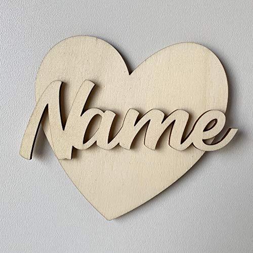DRYSSON Wunschname Holzbuchstabe Baby Name Kinderzimmer Tür Wand Deko Kind Schild Herz Holz