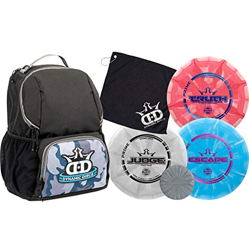 Dynamic Discs Disc Golf Starter Set | Camo/Black Cadet Disc Golf Bag Included | 17+ Disc Capacity | Prime Burst Disc Golf Frisbee Set Included | Putter, Midrange, Driver | 170g plus | Colors will vary