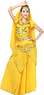 Fulision Women's Dancing Outfit Short Sleeve Sequins Belly Dance Indian Dance Top + Skirt + Other Accessories