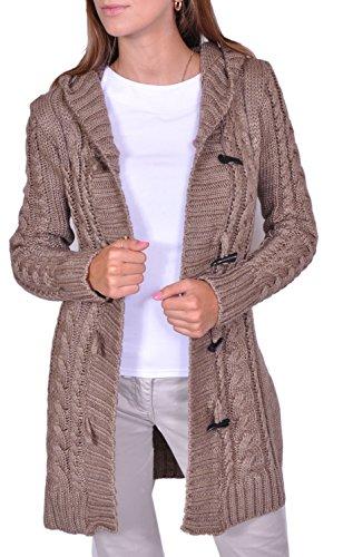 Damen Strick Jacke Mantel Pullover Neu mit Kapuze Beige Grau Warm (951) (M, Dunkelbeige)