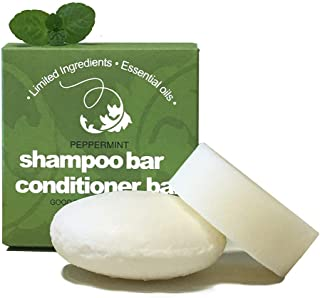 Whiff Shampoo Bar and Conditioner Bar, Peppermint Essential Oil, Limited Ingredients, No Colorings, Concentrated Formula, Made USA