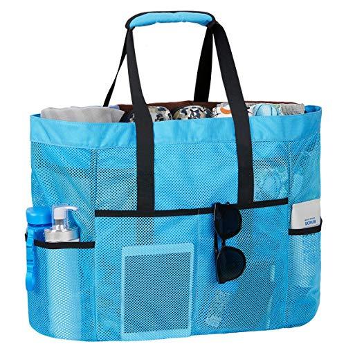 LIVACASA Bolsa de Playa Malla Grande Ligero con Cremallera Multi Bolsillos Cuerdas Antideslizante para Verano Piscina Playa Blue