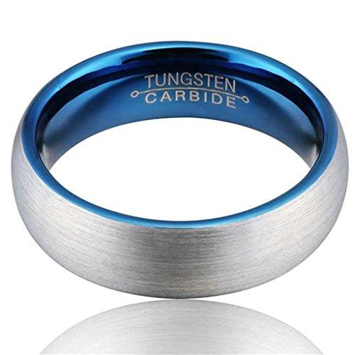 AMDXD Herren Ring Wolfram Stahl (mit Gratis Gravur) Runde 6MM Silber Blau Ehering 54 (17.2)