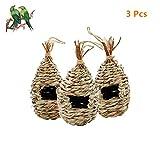 Fbaby 3 Pack Hummingbird House-9' x 4' Hand Woven Birdhouse Natural Grass Hummingbird Nest for Outside Hanging Hut,...