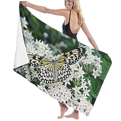 Toallas Shower Towels Beach Towels Bathroom Towels Toalla De Baño Toallas de baño para exteriores con mariposas y flores blancas Toalla 130 x 80 CM