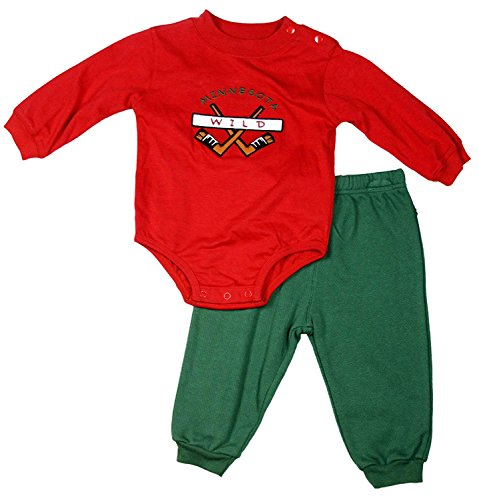 Minnesota Wild NHL Baby Boys Infant Newborn 2 Piece Pant and Creeper Set, Red & Green (6-9 Months)
