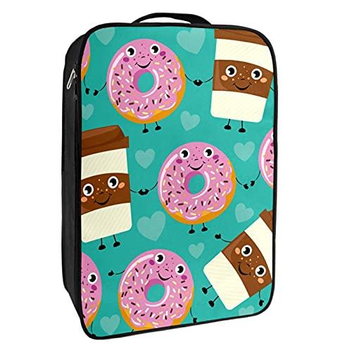Schuh-Aufbewahrungsbox für Reisen und den täglichen Gebrauch, lustige Cartoon-Donuts, Kaffeetasse, Schuhtasche, Organizer, tragbar, wasserdicht bis zu 12 Meter, mit doppeltem Reißverschluss, 4 Taschen