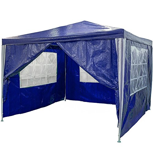 MCTECH Festzelte Gartenzelt Pavillon Bierzelt Partyzelt Festpavillon, Wasserdicht PE Plane Camping Vereinszelt,Blau, 3 x 3m mit 4 Seitenwände