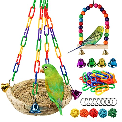 DIY Woven Straw Bird Nest,Handwoven Grass Hanging Parrot House Bird Cozy Resting Place Sleeping Bed Colorful Swing Toys for Cockatiel Parrots Parakeet Conures Finch Lovebird Cage Accessories (H01)