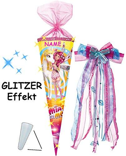 alles-meine.de GmbH mit 3-D Glitzer Effekt ! - Schultüte -  Mia and Me - Einhorn Onchao  - 70 cm - rund - incl. Namen und große Schleife - Organza Abschluß - Zuckertüte - mit /..