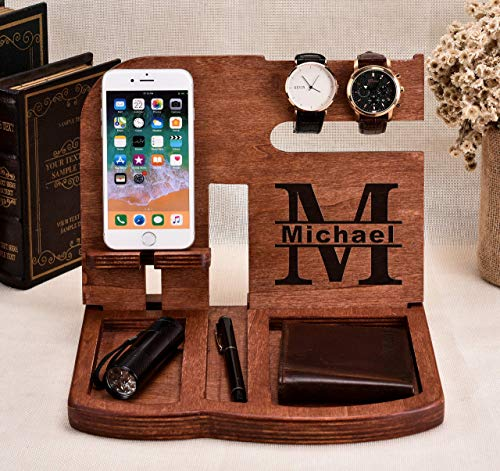 Personalized Wooden Docking Station Phone Stand Wooden Organizer Christmas Gift Custom Boyfriend Gift Husband Gift Cell Phone Dock Iphone 11 Dock Iphone 9 Dock Watch Stand Iphone Docking Station