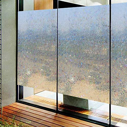 N / A 3D kleberfreie statische Dekoration Sichtschutzfenster Regenbogenfolie für farbige Glas Selbstklebende Folie Anti-Ultraviolett-Glas Aufkleber Home Dekoration Folie A66 45x100cm