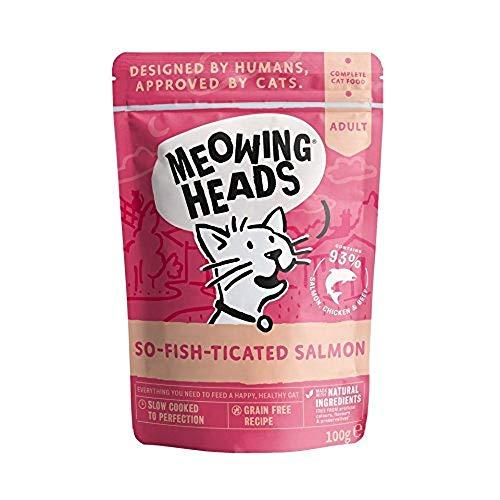 Meowing Heads Katzenfutter Nass Lachs, 10er pack ( 10 x 100 g)