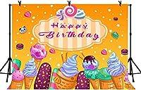 新しい7x5ftお誕生日おめでとう写真の背景キャンディアイスクリームパーティーの装飾の背景ベビーシャワーの装飾バナー写真スタジオの小道具109