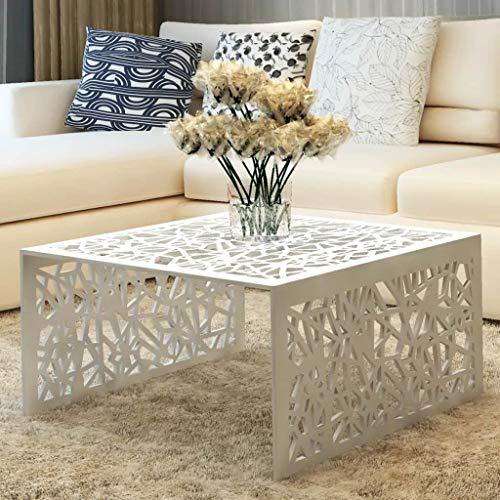 binzhoueushopping Table Basse argentée Design géométrique en Aluminium Dimensions 69 x 69 x 35 cm (l x P x H) Table Basse Design utilisée comme Table d'appoint