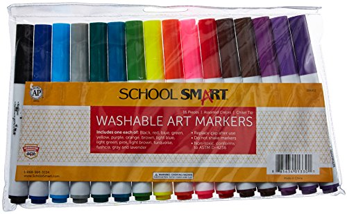 School Smart Chisel Tip Washable Markers - Set of 16 - Assorted Colors