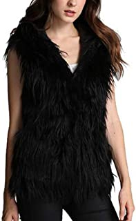 QIQIU Womens Solid Faux Fur Thick Warm Loose Winter Hooded Vest Coat Fashion Plus Size Jacket Overcoat Outerwear