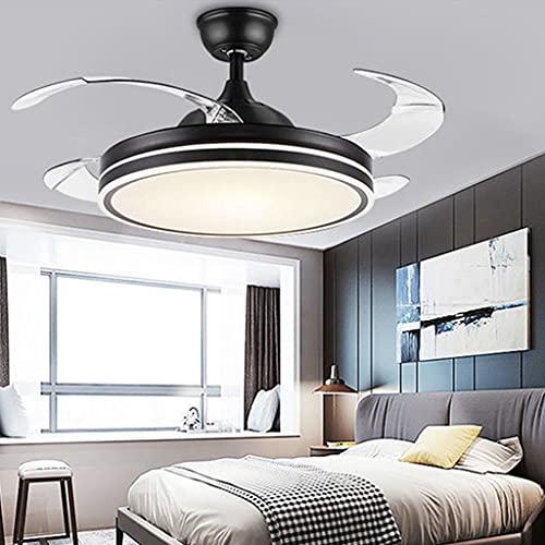 Ventiladores de Techo LED de Luz Luz de Techo de Lujo Moderna Luz de Ventilador de Iluminación Interior 48 Pulgadas con Luz LED de Atenuación y Control Remoto (Oro) (Color : A)